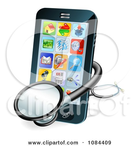 Clipart 3d Stethoscope And Smart Phone - Royalty Free Vector Illustration by AtStockIllustration