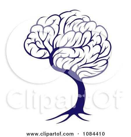Clipart Blue Brain Tree - Royalty Free Vector Illustration by AtStockIllustration