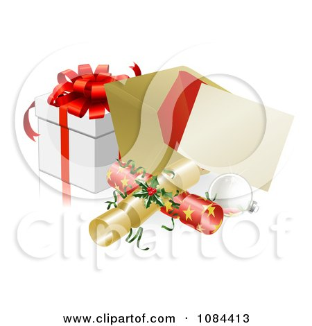 Clipart 3d Christmas Party Invitation With Crackers Baubles And A Gift - Royalty Free Vector Illustration by AtStockIllustration