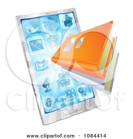 Clipart 3d Ebooks Emerging From A Smart Phone - Royalty Free Vector Illustration by AtStockIllustration