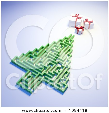 Clipart 3d Christmas Tree Maze And Presents On A Blue Background - Royalty Free CGI Illustration by Mopic