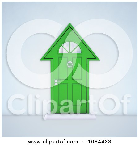 Clipart 3d Green House Shaped Door - Royalty Free CGI Illustration by Mopic