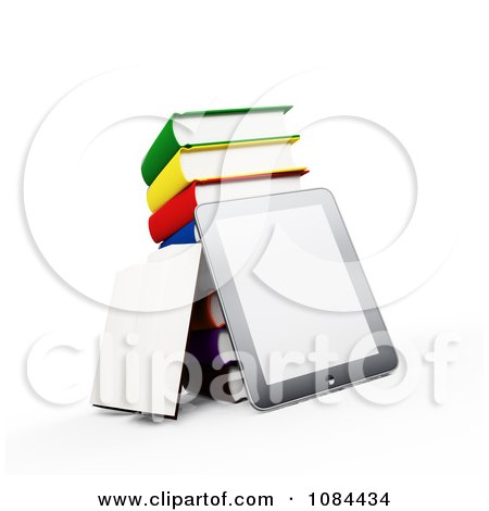 Clipart 3d Tablet With A Stack Of Books - Royalty Free CGI Illustration by Mopic