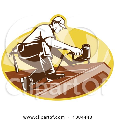 Clipart Retro Roofer Nailing Shingles - Royalty Free Vector    Roofer Vector