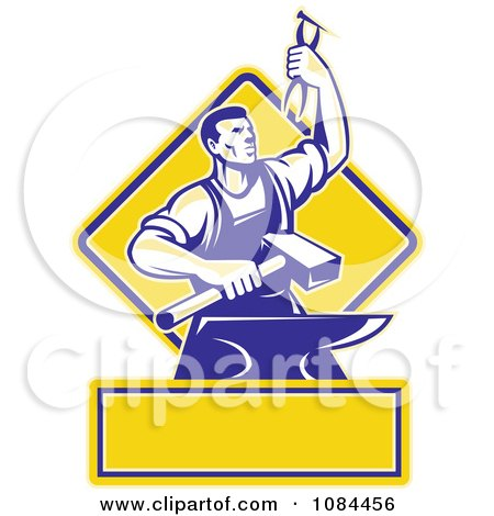 Clipart Retro Blacksmith With Pliers And An Anvil With Copyspace - Royalty Free Vector Illustration by patrimonio