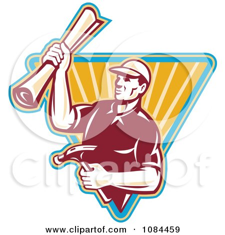 Clipart Retro Carpenter Holding Blueprints And A Hammer - Royalty Free Vector Illustration by patrimonio