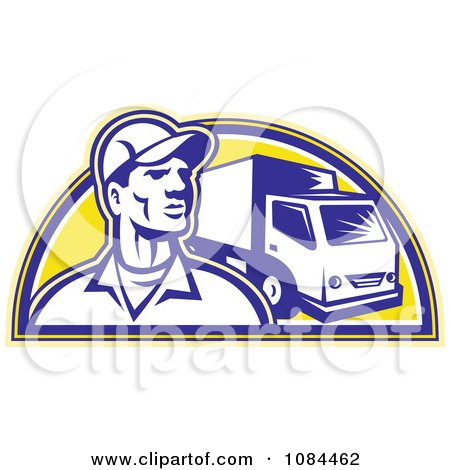Clipart Retro Delivery Man And Truck - Royalty Free Vector Illustration by patrimonio