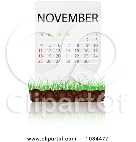 Clipart NOVEMBER Calendar With Soil And Grass - Royalty Free Vector Illustration by Andrei Marincas