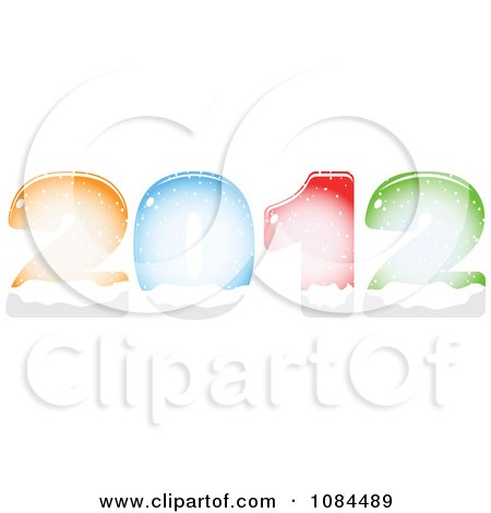 Clipart Colorful New Year 2012 Filling With Snow - Royalty Free Vector Illustration by Andrei Marincas