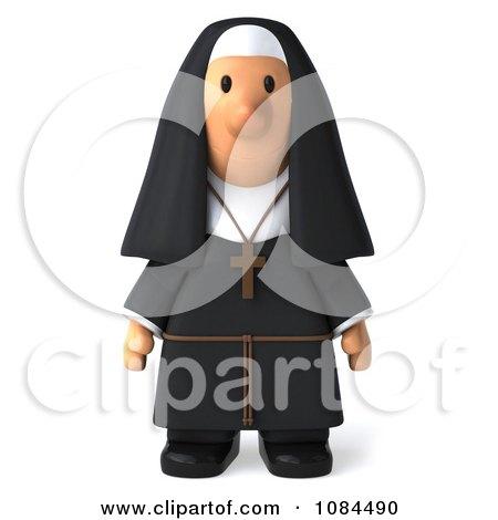 Clipart 3d Nun Standing And Facing Forward - Royalty Free CGI Illustration by Julos