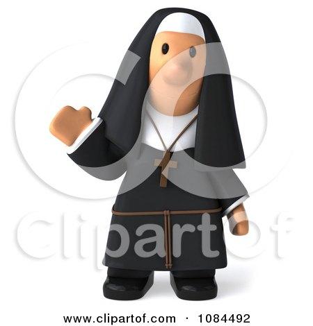 Clipart 3d Nun Waving And Facing Forward - Royalty Free CGI Illustration by Julos