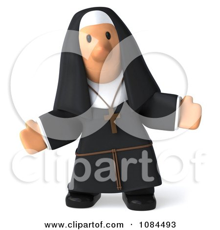 Clipart 3d Nun With Open Arms Facing Forward - Royalty Free CGI Illustration by Julos