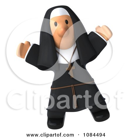 Clipart 3d Jumping Nun With Open Arms Facing Forward - Royalty Free CGI Illustration by Julos
