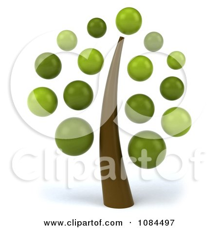 Clipart 3d Tree With Green Bubble Foliage - Royalty Free CGI Illustration by Julos