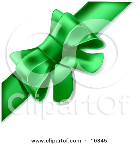 Gift Present Wrapped With a Green Ribbon Tied Into a Bow Clipart Illustration by Leo Blanchette