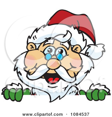 Clipart Santa Smiling Over A Sign - Royalty Free Vector Illustration by Dennis Holmes Designs