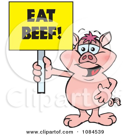 Clipart Pig Holding A Yellow Eat Beef Sign - Royalty Free Vector Illustration by Dennis Holmes Designs