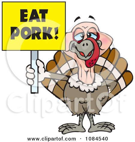Clipart Turkey Holding A Yellow Eat Pork Sign - Royalty Free Vector Illustration by Dennis Holmes Designs
