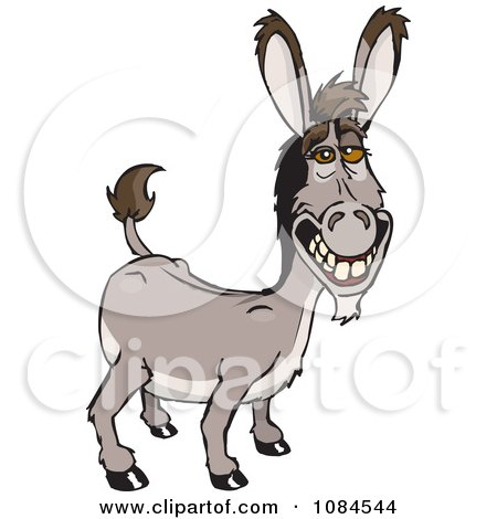 Clipart Grinning Donkey Ass - Royalty Free Vector Illustration by Dennis Holmes Designs