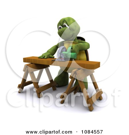 Clipart 3d Carpenter Tortoise Using A Saw Horse - Royalty Free CGI Illustration by KJ Pargeter
