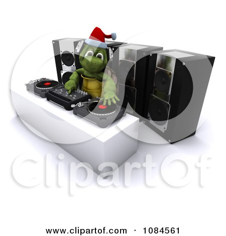 Clipart 3d Tortoise Dj Hosting A Christmas Party - Royalty Free CGI Illustration by KJ Pargeter