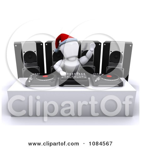 Clipart 3d White Character Dj Hosting A Christmas Party - Royalty Free CGI Illustration by KJ Pargeter