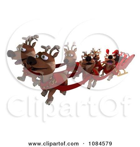 3d Happy Reindeer Flying Santas Sleigh by KJ Pargeter