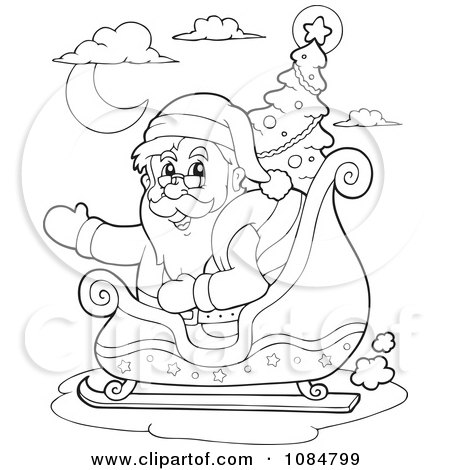 Clipart Outlined Waving Santa In His Sleigh With A Christmas Tree