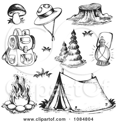 Clipart Sketched Drawings Of Camping Gear - Royalty Free Vector Illustration by visekart