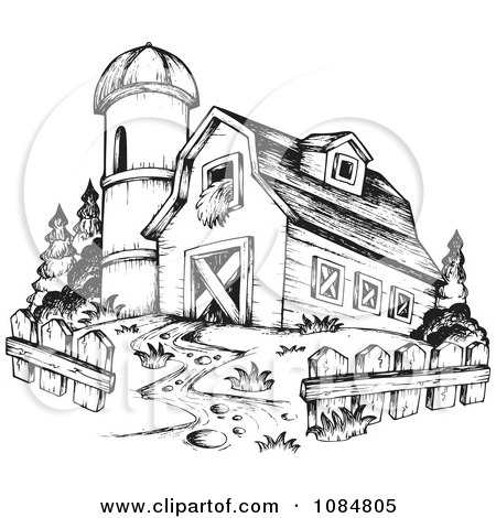 sketched drawing of a barn and silo