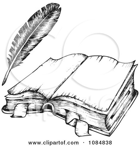 Clipart Sketched Drawing Of An Open Book And Feather Quill - Royalty Free Vector Illustration by visekart