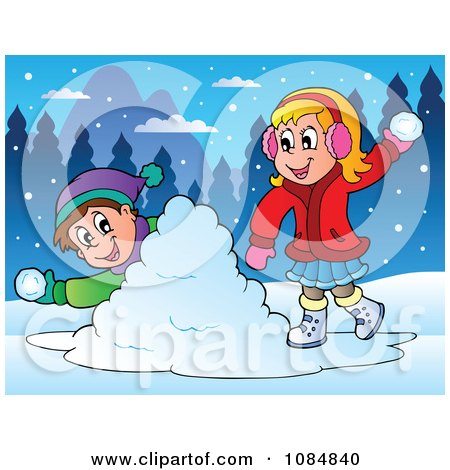 Clipart Boy And Girl Having A Snowball Fight - Royalty Free Vector ...
