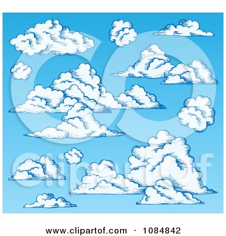 Clipart Blue Sky With Puffy Clouds - Royalty Free Vector Illustration by visekart