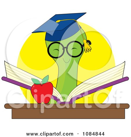 Clipart Smart Bookworm Reading A Book By An Apple - Royalty Free Vector Illustration by Maria Bell