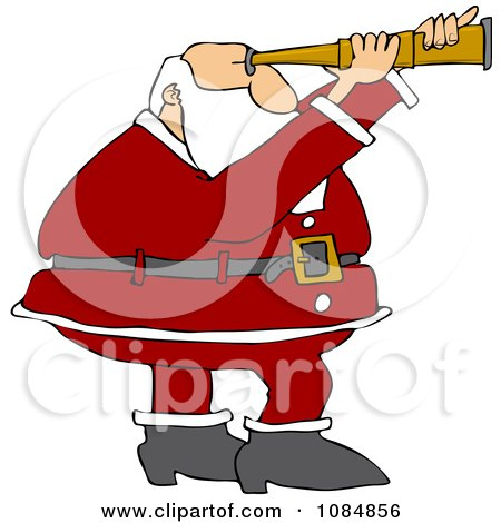 Clipart Santa Viewing Through A Scope - Royalty Free Vector Illustration by djart