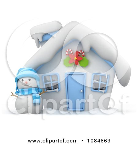 Clipart 3d Christmas House With A Snowman In The Yard - Royalty Free CGI Illustration by BNP Design Studio