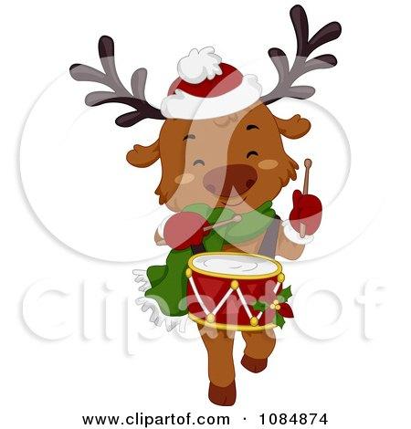 Clipart Christmas Reindeer Drummer - Royalty Free Vector Illustration by BNP Design Studio