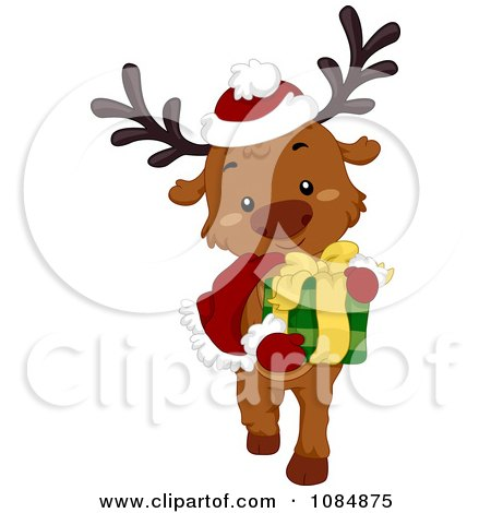 Clipart Christmas Reindeer Carrying A Gift - Royalty Free Vector Illustration by BNP Design Studio