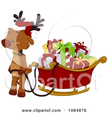 Clipart Christmas Reindeer With A Full Sleigh - Royalty Free Vector Illustration by BNP Design Studio
