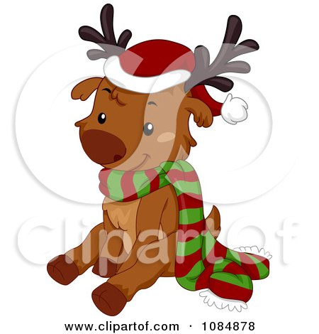Clipart Christmas Reindeer Sitting With A Scarf And Santa Hat - Royalty Free Vector Illustration by BNP Design Studio