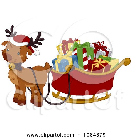 Christmas Reindeer With A Sleigh Full Of Presents Posters, Art Prints