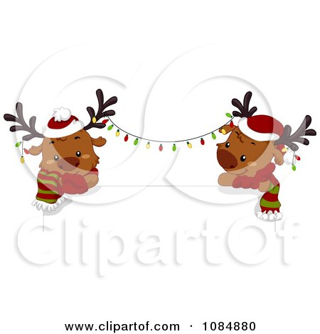 Clipart Christmas Reindeer With Lights Over A Sign - Royalty Free Vector Illustration by BNP Design Studio