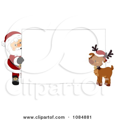 Clipart Santa Claus And A Reindeer With A Christmas Sign - Royalty Free Vector Illustration by BNP Design Studio