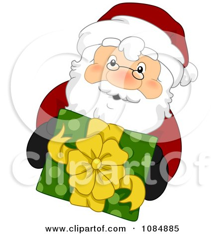 Clipart Santa Claus Holding Up A Christmas Gift - Royalty Free Vector Illustration by BNP Design Studio