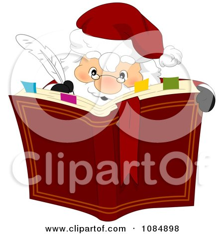 Clipart Santa Claus Writing In His Christmas Book - Royalty Free Vector Illustration by BNP Design Studio