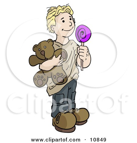 Blond Boy Holding A Lolipop Sucker And A Teddy Bear Clipart Illustration