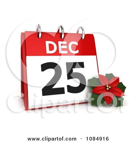Clipart 3d Christmas Poinsettia Flower And Calendar - Royalty Free CGI Illustration by BNP Design Studio