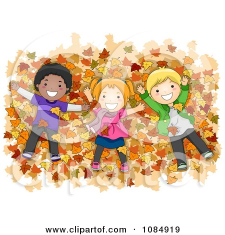 Clipart Diverse Kids Laying In A Pile Of Autumn Leaves - Royalty Free Vector Illustration by BNP Design Studio