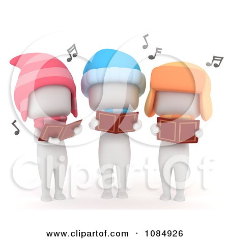 Clipart 3d Ivory Kids Singing Christmas Carols - Royalty Free CGI Illustration by BNP Design Studio
