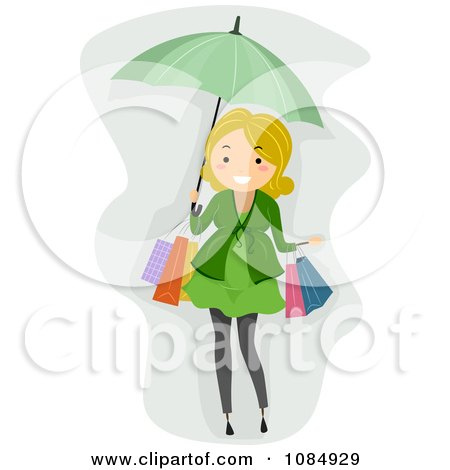 Clipart Blond Pregnant Woman Shopping With An Umbrella - Royalty Free Vector Illustration by BNP Design Studio